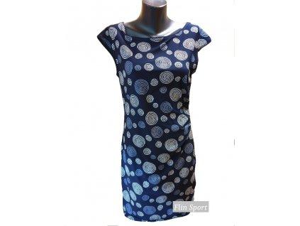 Dámské letní šaty řasené s malými kruhy