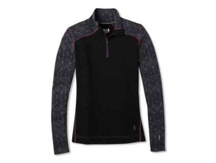 Dámský merino rolák Smartwool BaseLayer Pattern 1/4 zip blackmedallion