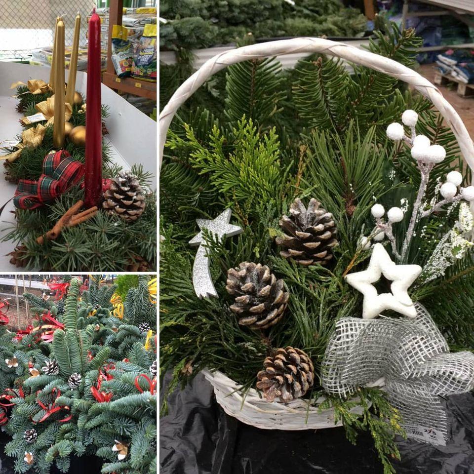 Adventní věnce, vánoční truhlíky, košíky, vazby a jiné dekorace