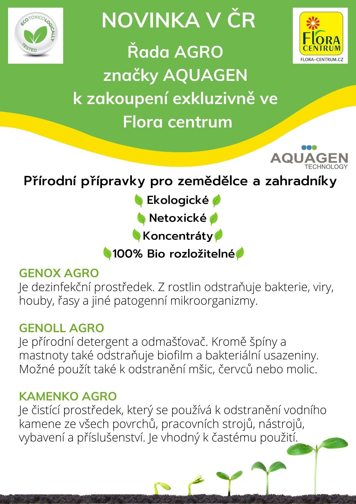 Přírodní přípravky AGRO od AQUAGEN exkluzivně v prodejnách Flora Centrum