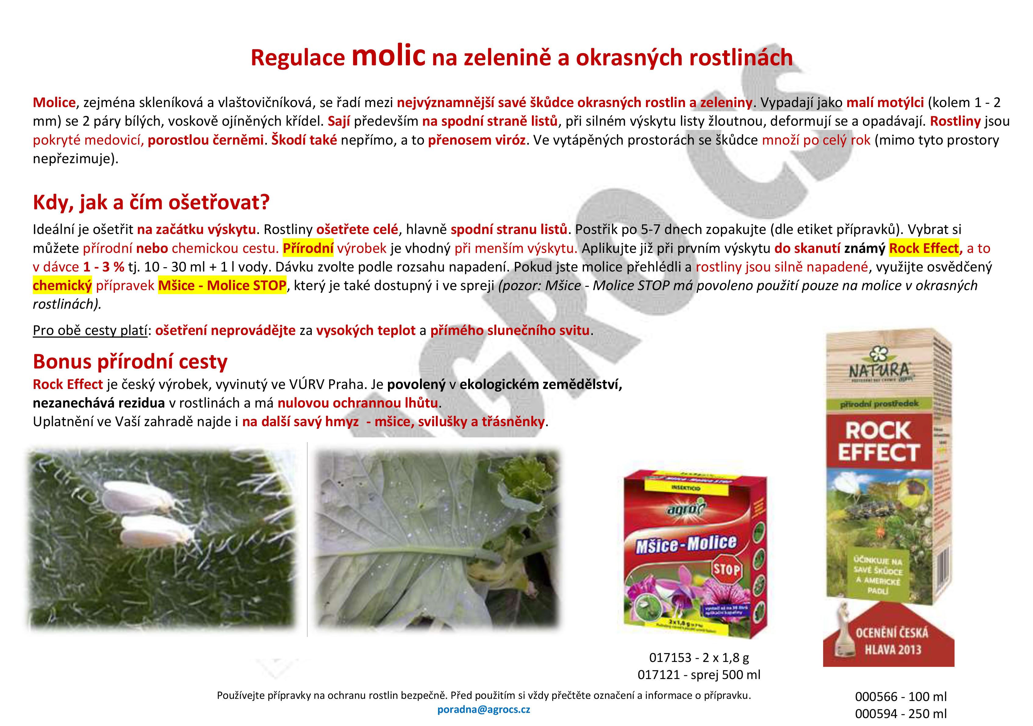 Regulace molic na zelenině a okrasných rostlinách
