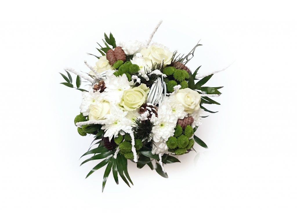 Kytice Bella - chyrsanthema, růže, beargrass
