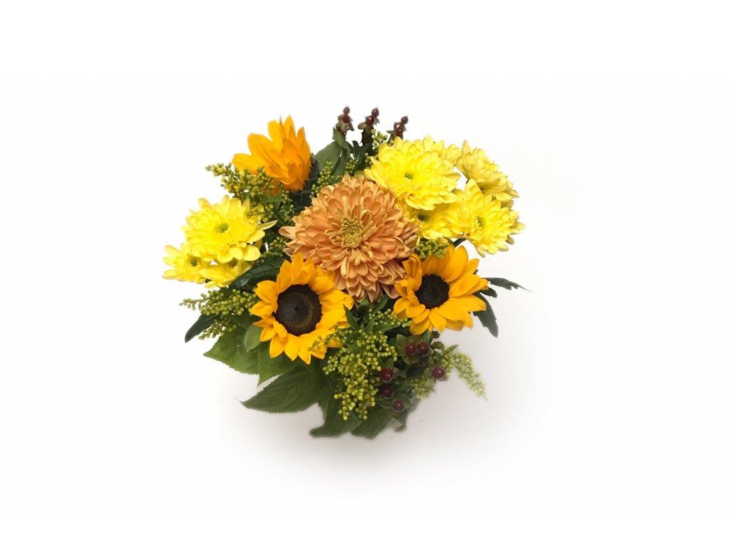Kytice Sofie - slunečnice, pistácie, chrysanthéma, hypericum