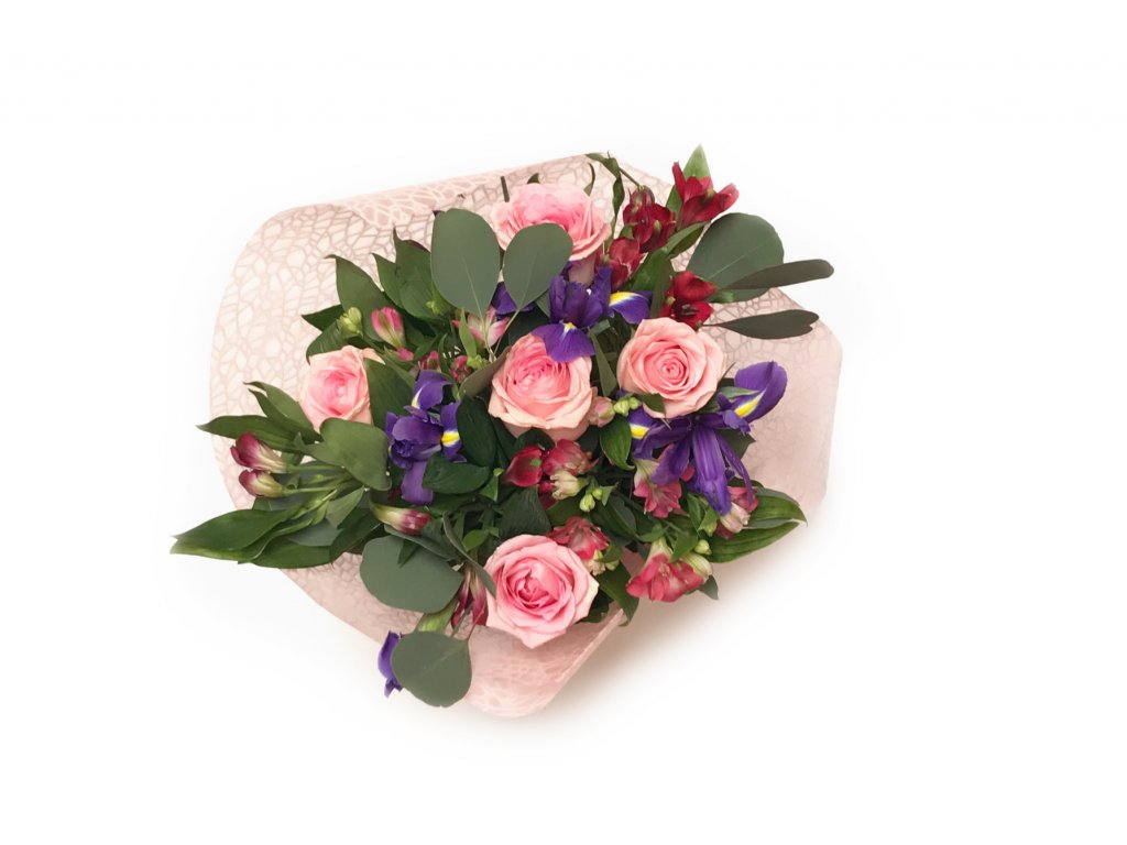 Kytice Iris - růže, iris, alstroemérie