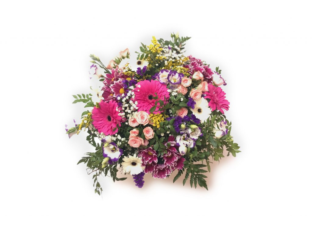 Kytice Silvie - gerbera, minirůže, chrysantéma, eustoma, solidago