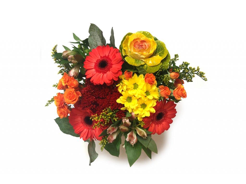 Podzimní kytice Zora - gerbera, minirůže, zelí, chrysantéma, alstromérie