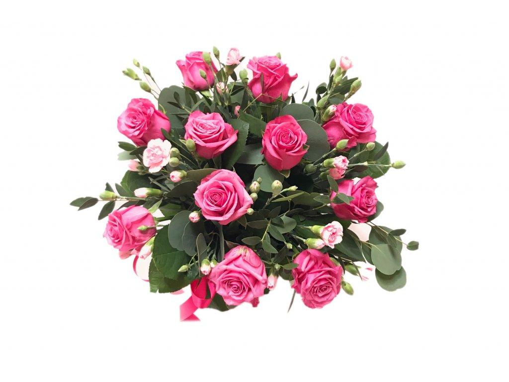 Flowerbox Amélie: růže, minkarafiáty, eucalyptus