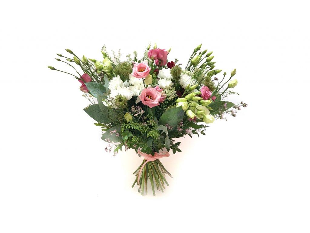 Kytice Milena - eustoma, chrysantéma, trachelium, eucalypt