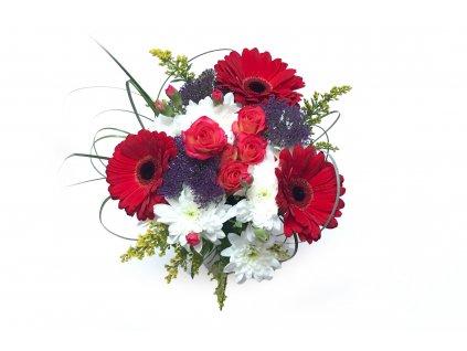 Kytice Harmony - gerbery, růže, hypericum, trachelium, solidago
