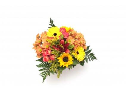 Kytice Katrin - růže, gerbery, slunečnice, chrysanthema
