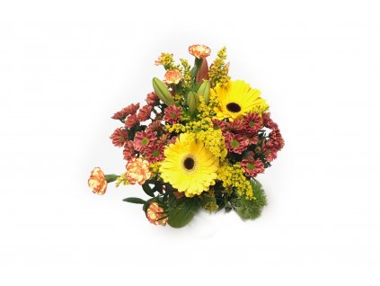 Levná kytice Margareta - gerbera, chrysanthéma, minikarafiát