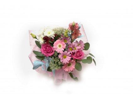 Kytice Raphaela - růže, gerbera, lisianthus, alstroemerie