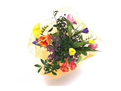 Jarní kytice Natálie - narcis, iris, tulipán, frezie, limonium