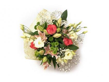 Kytice Klára - lilie, růže, lisianthus a gypsophila