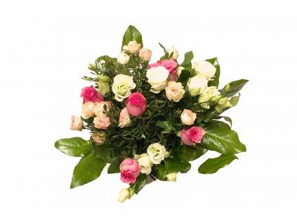 Kytice Hedvika - růže, eustoma, minirůže