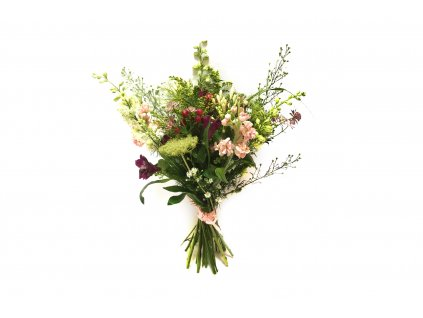 Luční kytice Rozárie - alstromérie, pakmín, mathiola, delphinium, aster