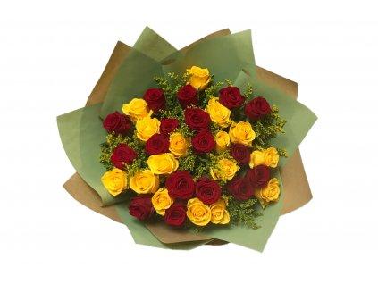 Kytice Lada - dvě barvy růží s přízdobou