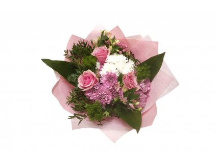 Kytice Alena - růže, chrysantéma, bouwardie, karafiát