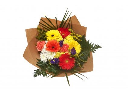 Kytice Iva - gerbera, chryzantéma, irisy, solidago, karafiát