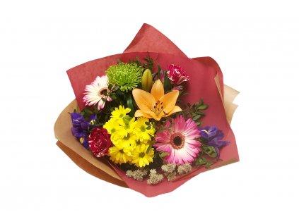 Kytice Margarita - gerbera, růže, iris, chrysantéma, lilie