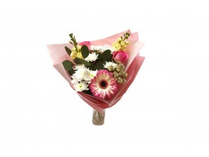 Kytice Svatoslava - růže, eucalypt, chrysantéma, mathiola, gerbera