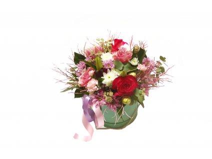Flowerbox Valentyna - růže, eucalypt, lilie, chrysantéma