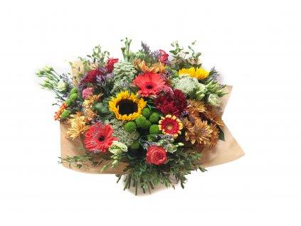Kytice Ljuba - gerbera, slunečnice, chryzantéma, růže, eustoma