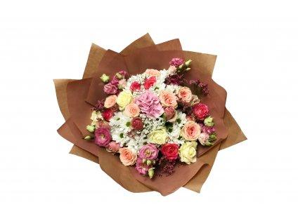 Kytice Jana: růže, chryzantéma, eustoma, gypsofila