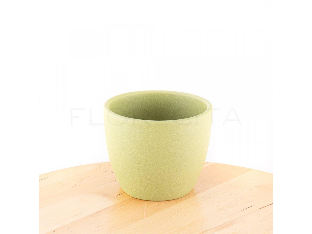 Zelený pieskovaný keramický črepník florecita 034