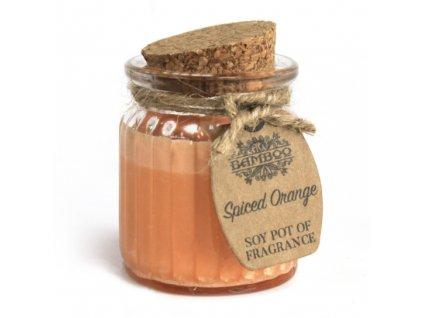 sojova sviecka v skle koreneny pomaranc