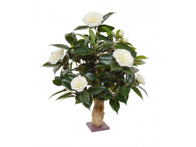 Umělý strom Camellia na kmeni (65cm) - krémová
