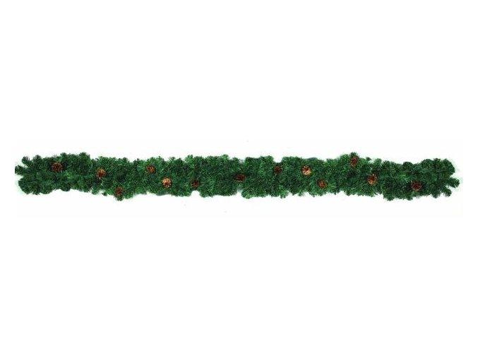 Umělá girlanda se šiškami, zelená (270cm)
