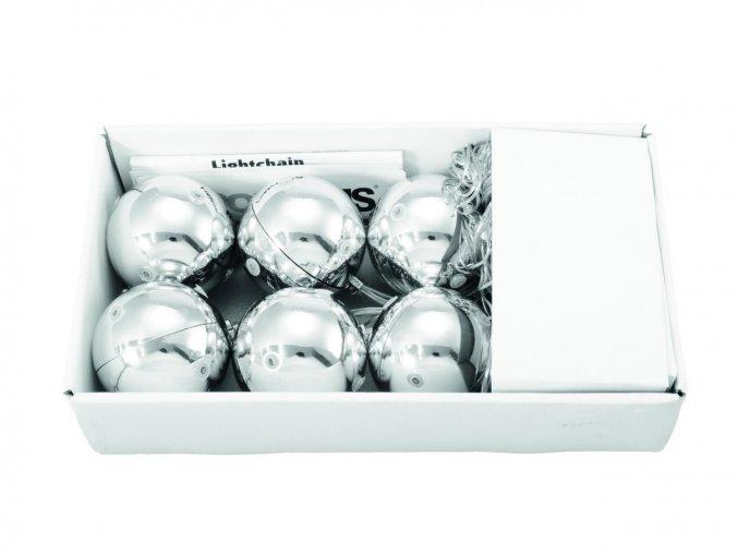 Vánoční ozdoby LED, 6cm - stříbrné