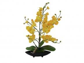 Umělá rostlina Orchid Deco Bowl (45cm) žlutá