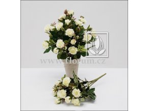 Umělá květina Růže Bush (25cm) bílá