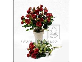 Umělá květina Růže Bush (25cm) červená