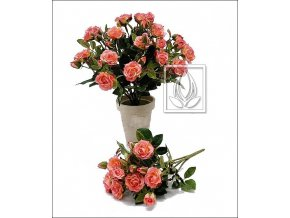 Umělá květina Růže Bush (25cm) růžová