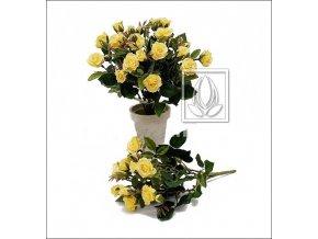 Umělá květina Růže Bush (25cm) žlutá