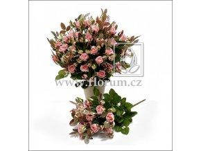 Umělá květina Růže Bush (40cm) růžová