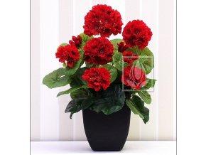 Umělá rostlina Pelargonie (35cm) červená