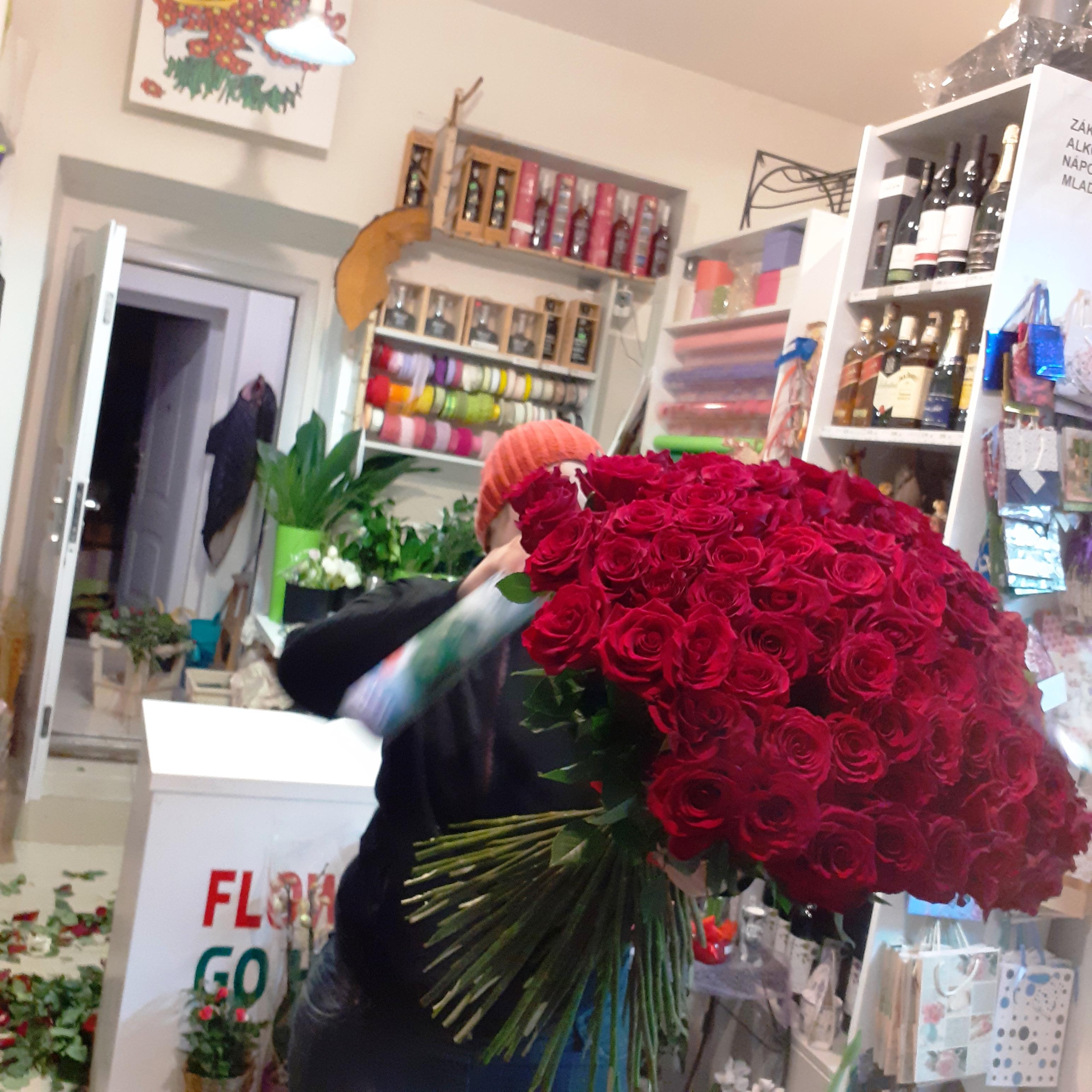 100 růží dlouhé 70 cm