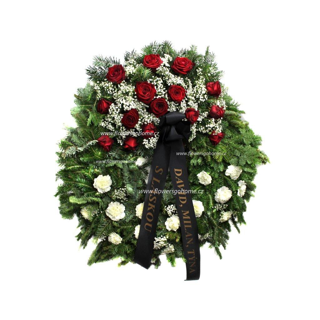 Smuteční věnec karafiáty - růže