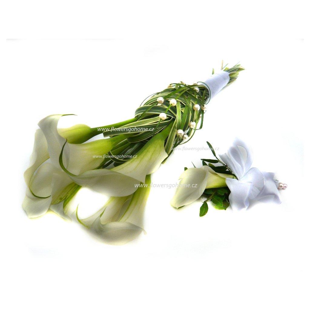Svatební kytice bílé Cally