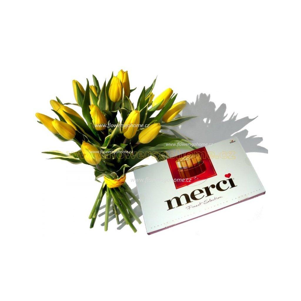 Žluté tulipány  + MERCI 250 g