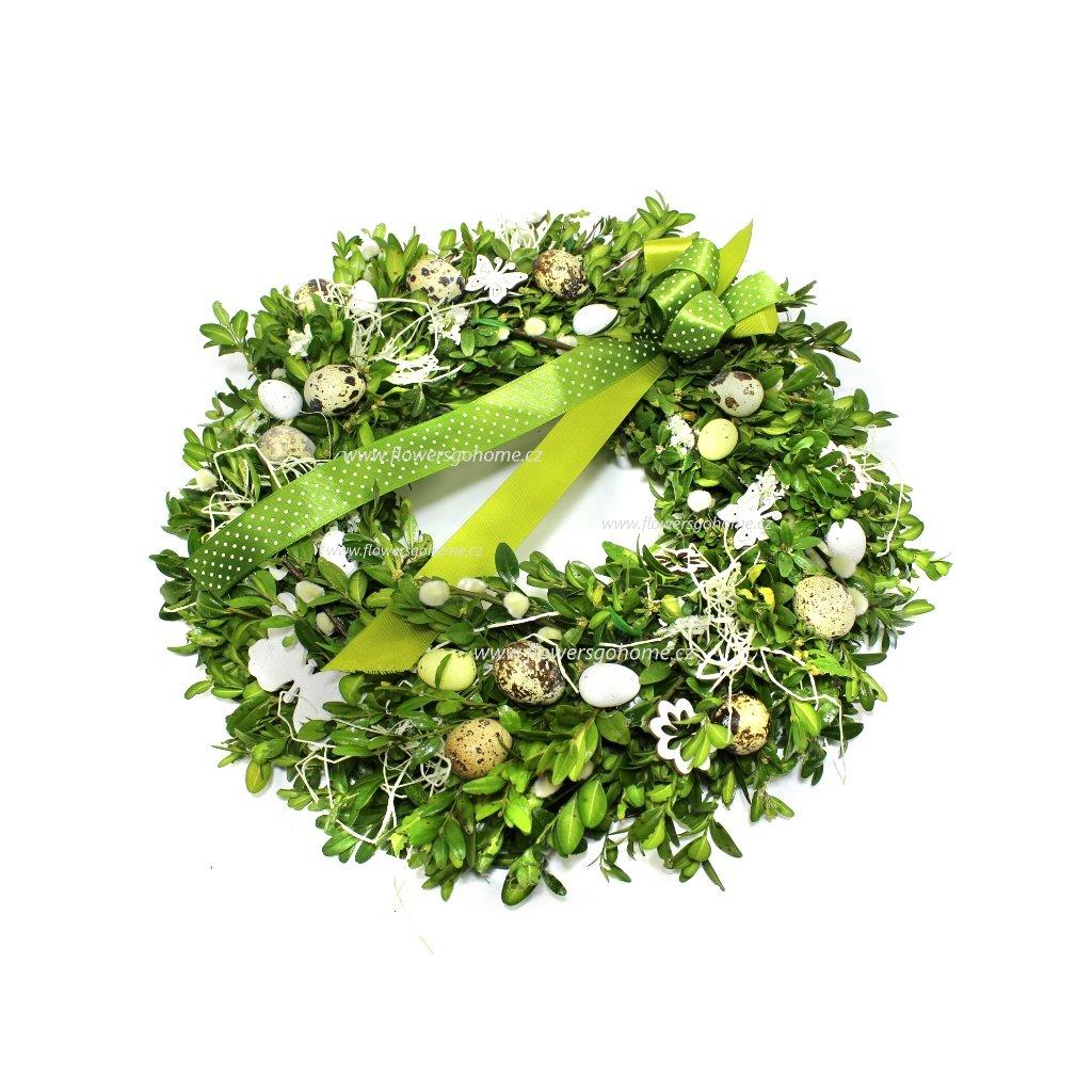Buxusový věnec zelená mašle