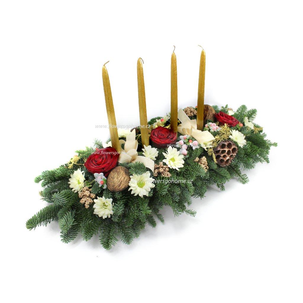 Vánoční svícen zlaté svíčky