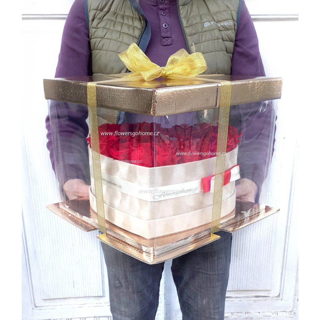 Stabilizovaná růže 15 ks srdce