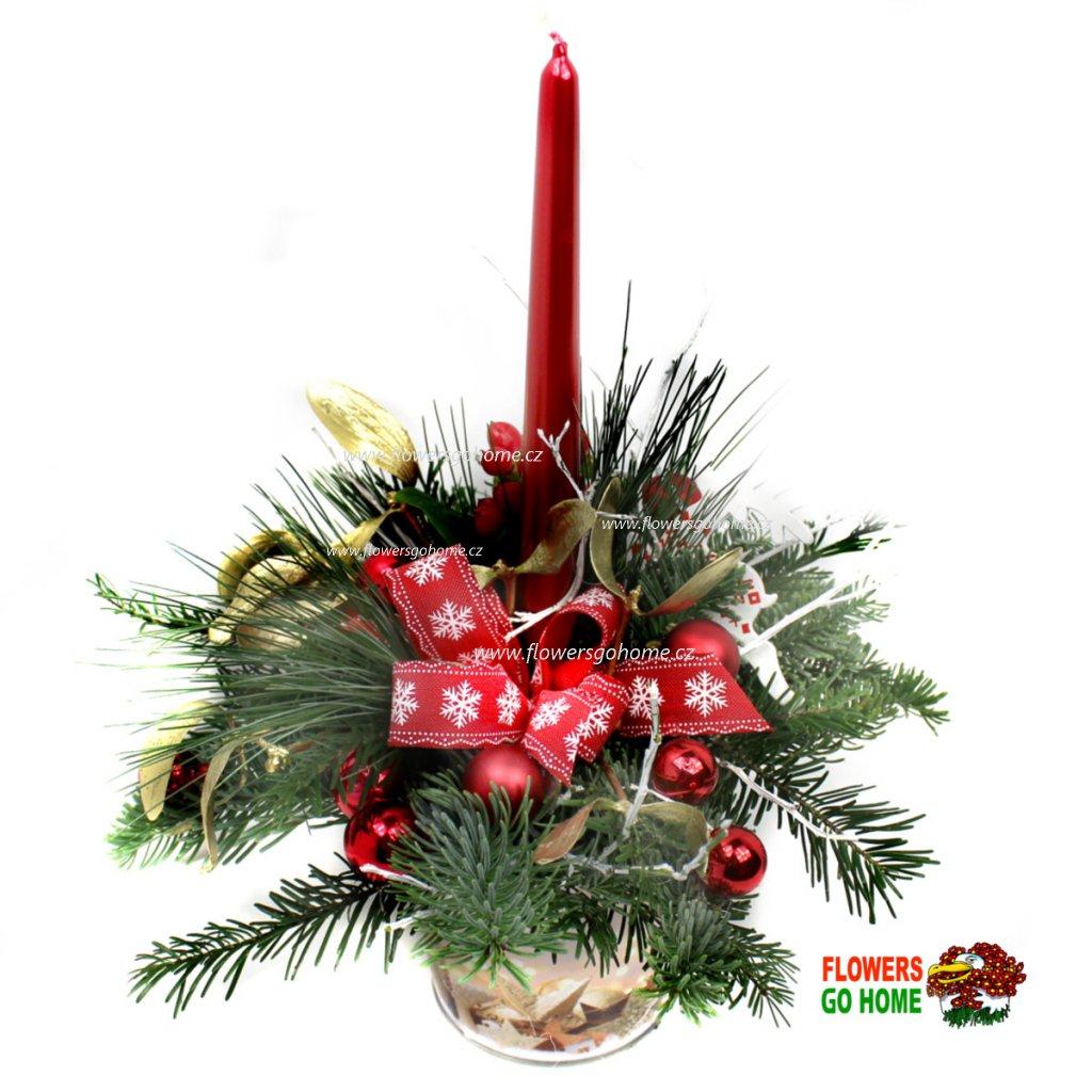 Vánoční svícen červený