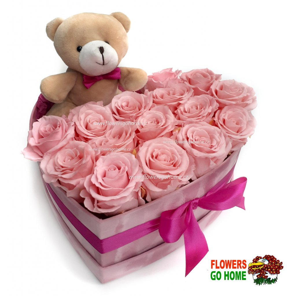 Stabilizovaná růže box s medvídkem