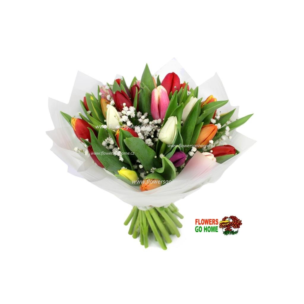Tulipány s gypsophilou